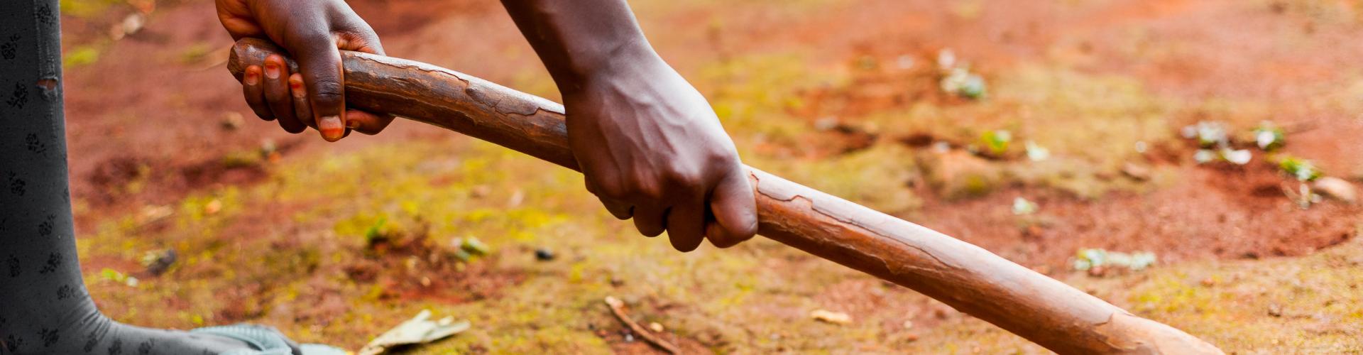 hand holding wood